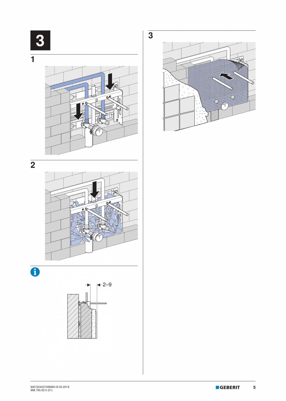 Pagina 5 - Instructiuni de instalare pentru elementul Geberit Kombifix pentru bideu, universal ...