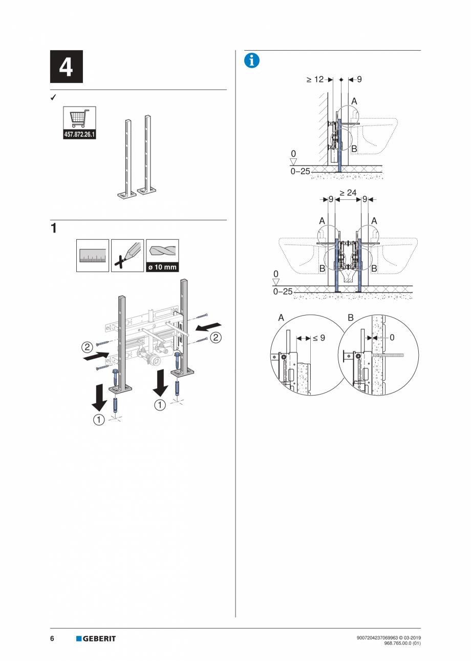 Pagina 6 - Instructiuni de instalare pentru elementul Geberit Kombifix pentru bideu, universal ...
