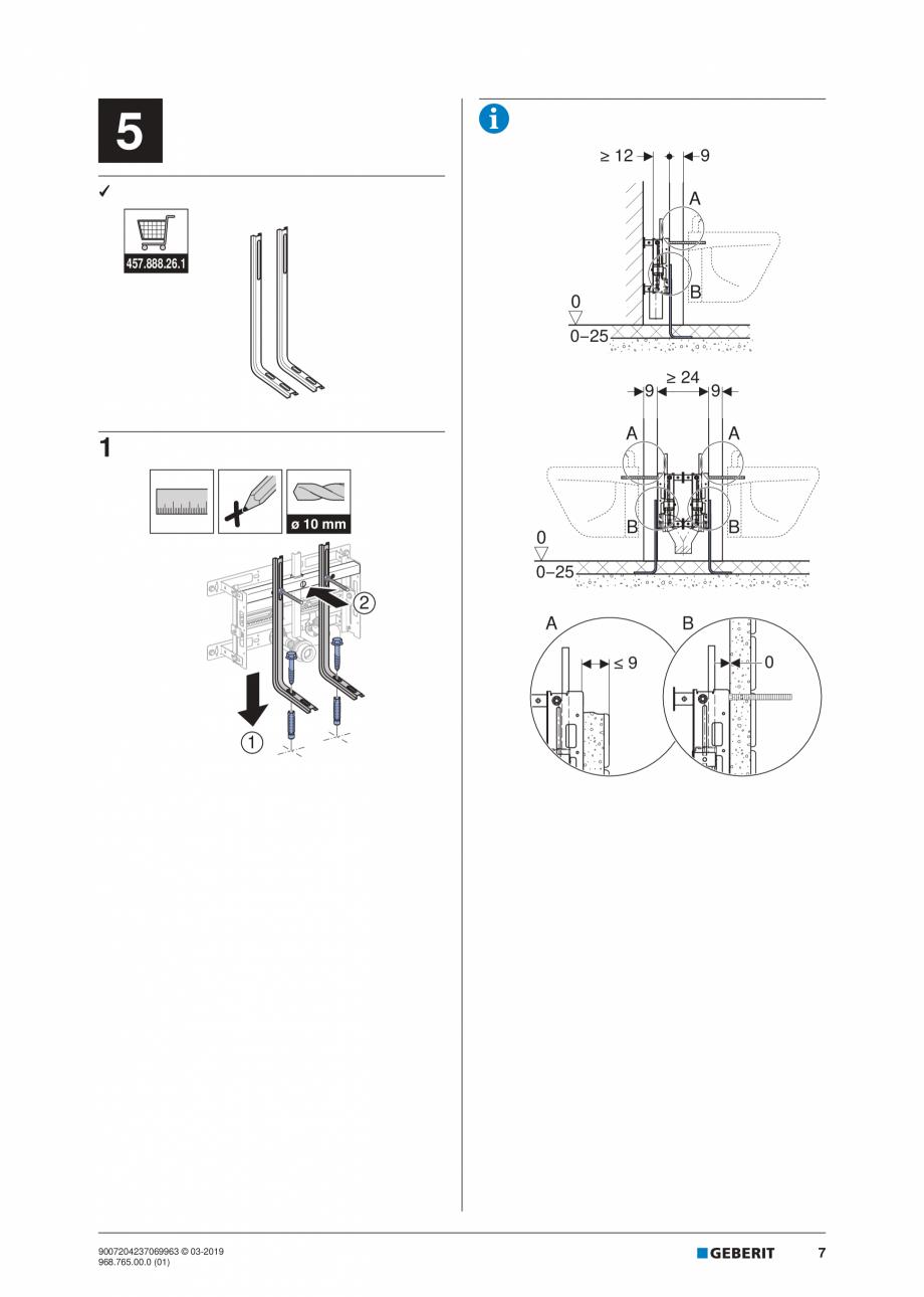 Pagina 7 - Instructiuni de instalare pentru elementul Geberit Kombifix pentru bideu, universal ...