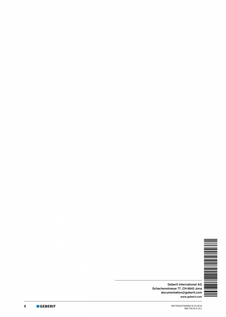 Pagina 8 - Instructiuni de instalare pentru elementul Geberit Kombifix pentru bideu, universal ...