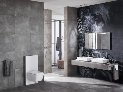 Baie cu modul sanitar Geberit Monolith pentru lavoar si WC Monolith Sistem WC