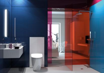 Baie cu modul sanitar Monolith alb Monolith Sistem WC