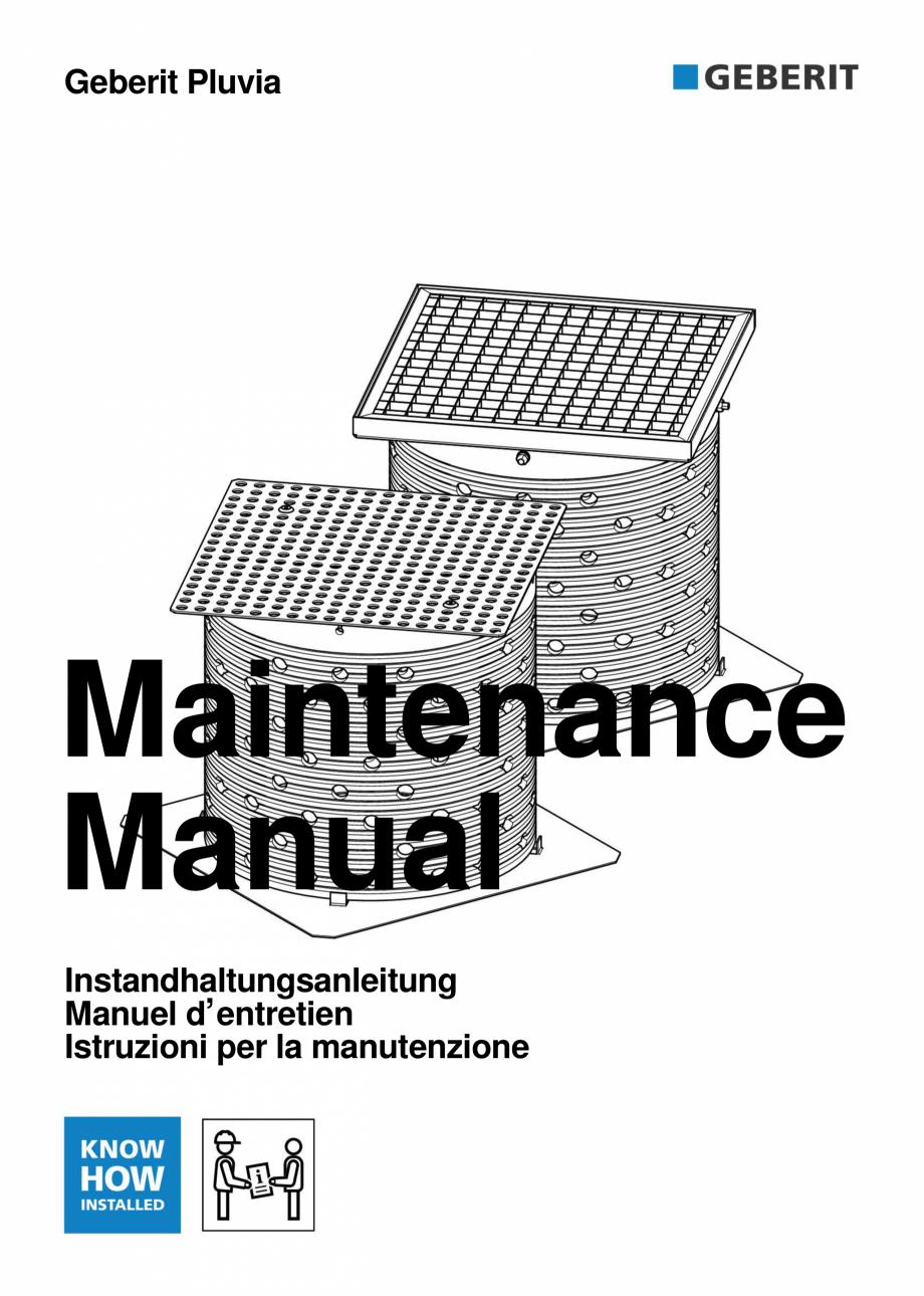 Pagina 1 - Instructiuni de intretinere pentru setul de completare, care suporta greutate GEBERIT...