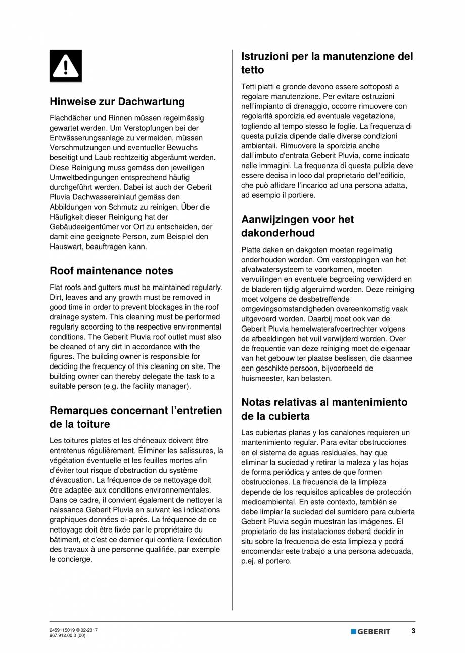 Pagina 3 - Instructiuni de intretinere pentru setul de completare, care suporta greutate GEBERIT...