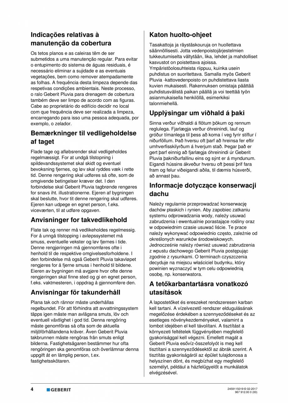 Pagina 4 - Instructiuni de intretinere pentru setul de completare, care suporta greutate GEBERIT...