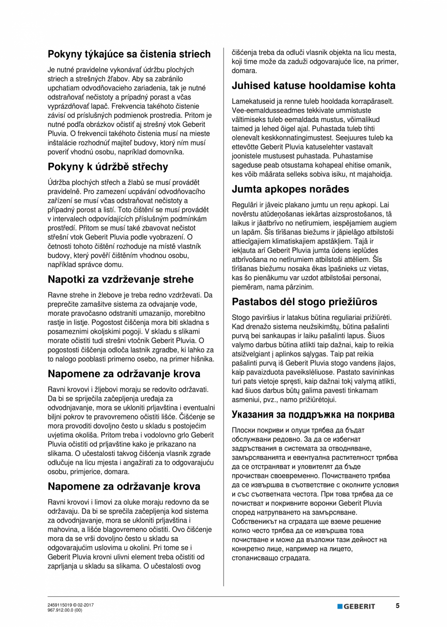Pagina 5 - Instructiuni de intretinere pentru setul de completare, care suporta greutate GEBERIT...