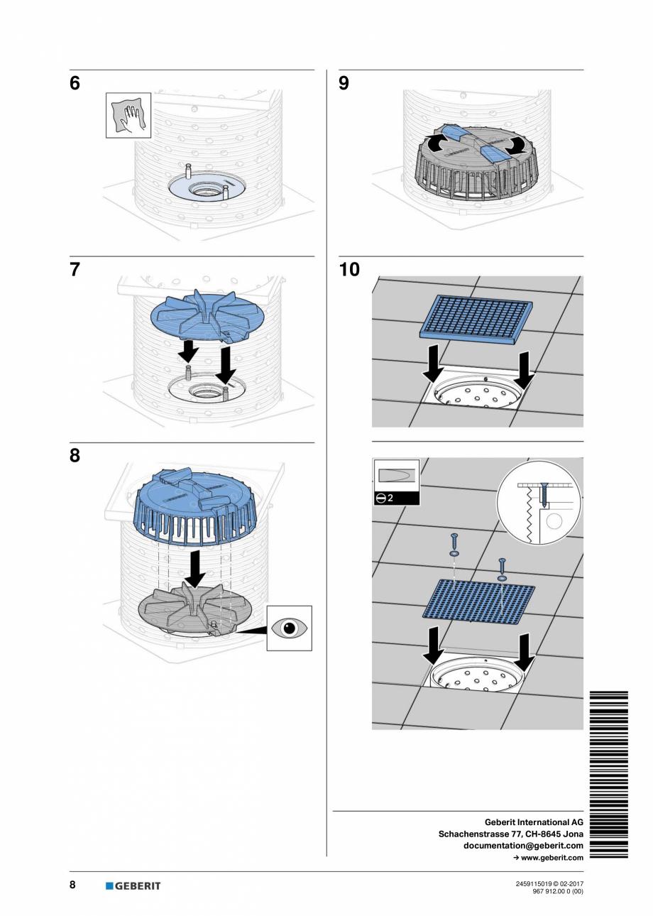 Pagina 8 - Instructiuni de intretinere pentru setul de completare, care suporta greutate GEBERIT...