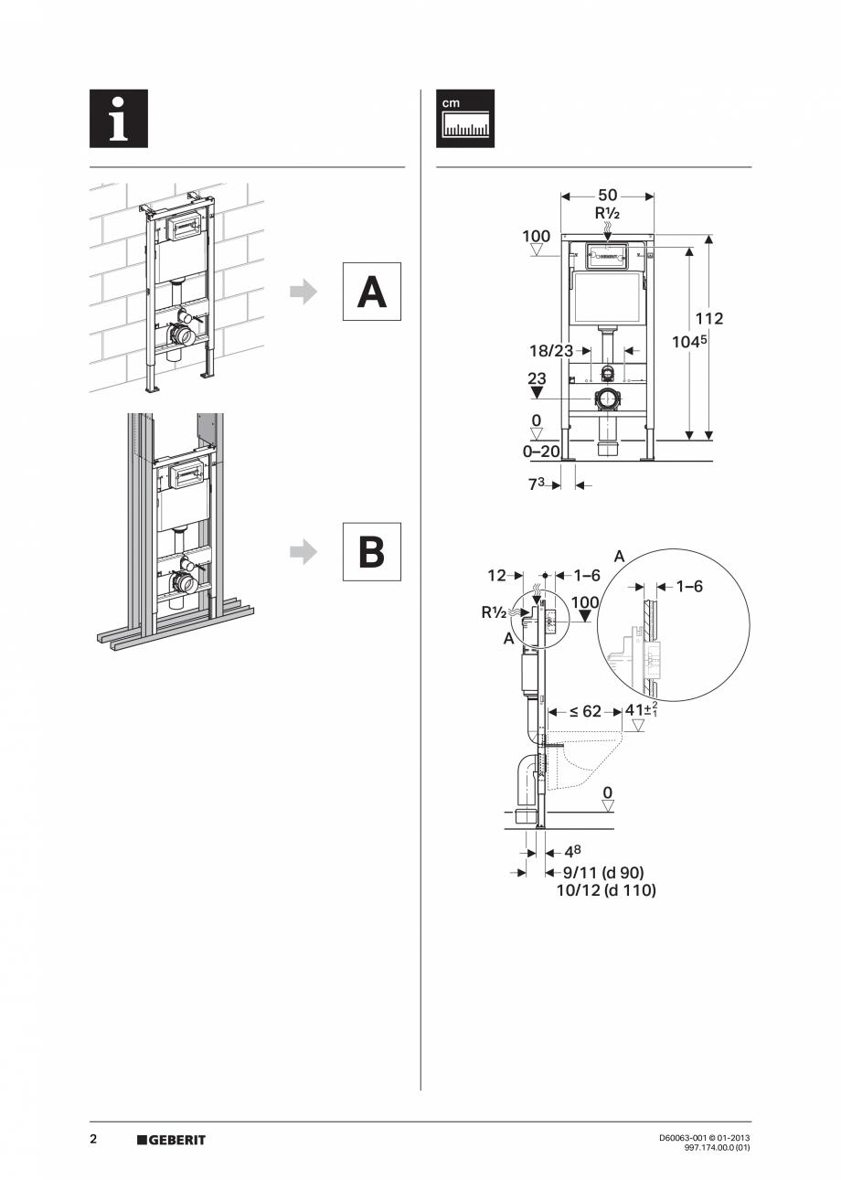 Pagina 2 - Manual de instalare rezervoare incastrate GEBERIT Duofix, Delta Instructiuni montaj,...