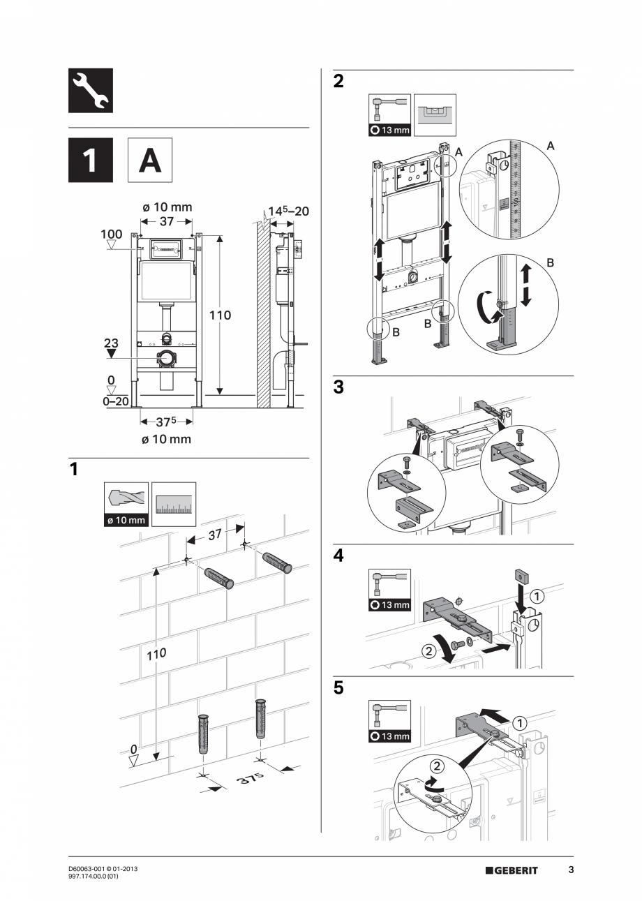 Pagina 3 - Manual de instalare rezervoare incastrate GEBERIT Duofix, Delta Instructiuni montaj,...