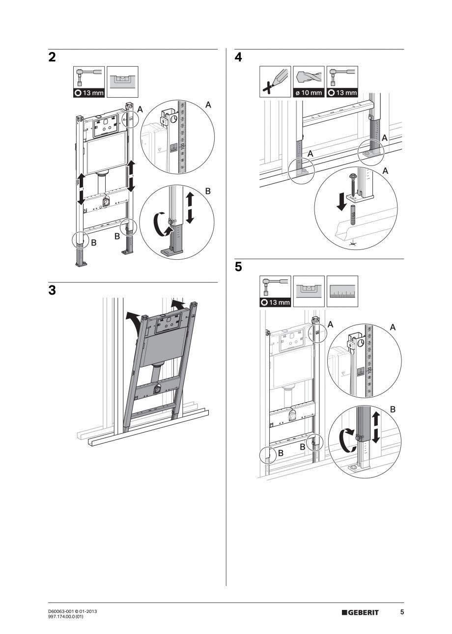 Pagina 5 - Manual de instalare rezervoare incastrate GEBERIT Duofix, Delta Instructiuni montaj,...