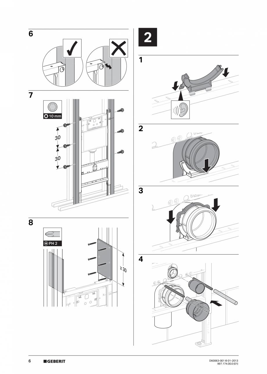 Pagina 6 - Manual de instalare rezervoare incastrate GEBERIT Duofix, Delta Instructiuni montaj,...