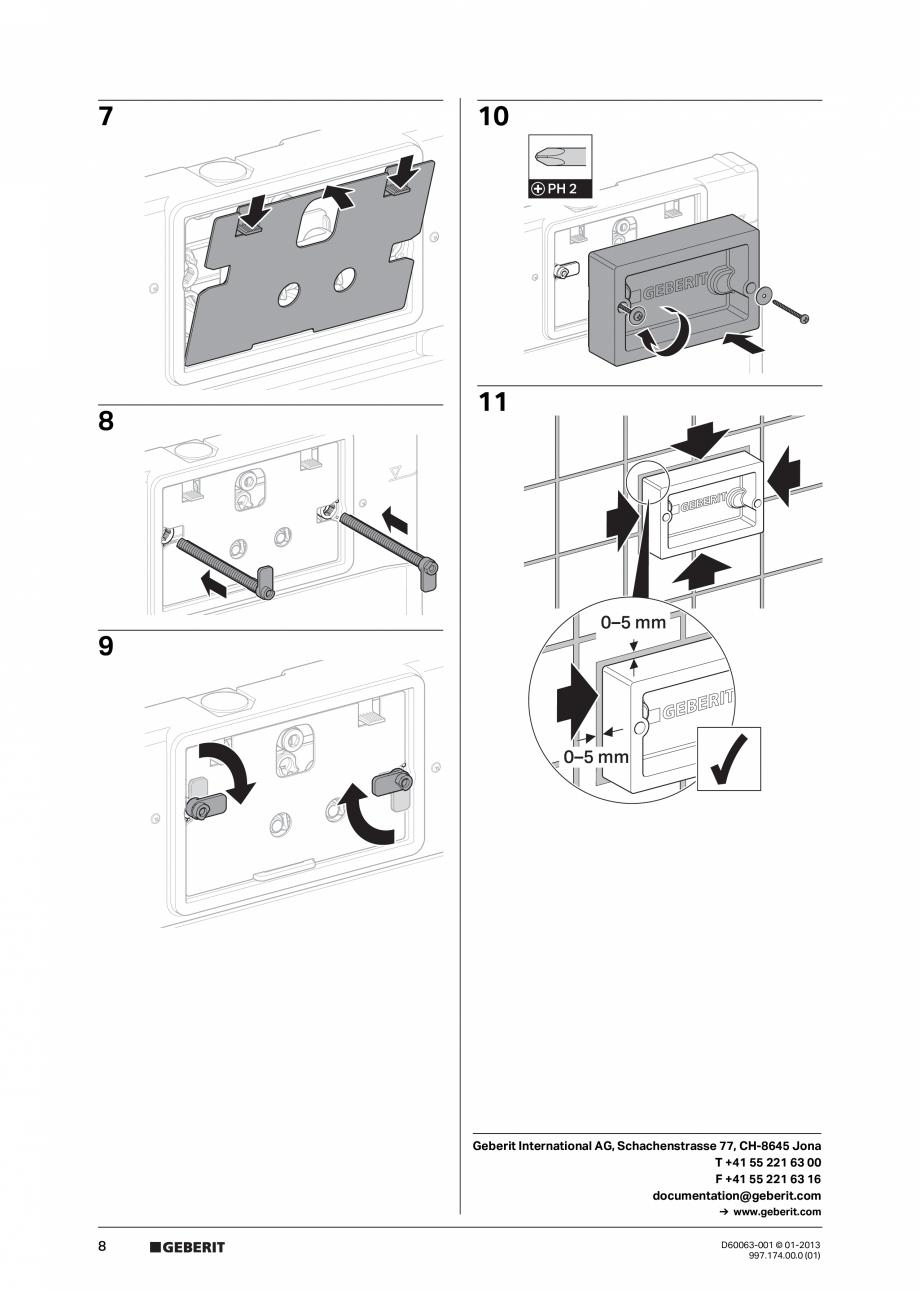 Pagina 8 - Manual de instalare rezervoare incastrate GEBERIT Duofix, Delta Instructiuni montaj,...