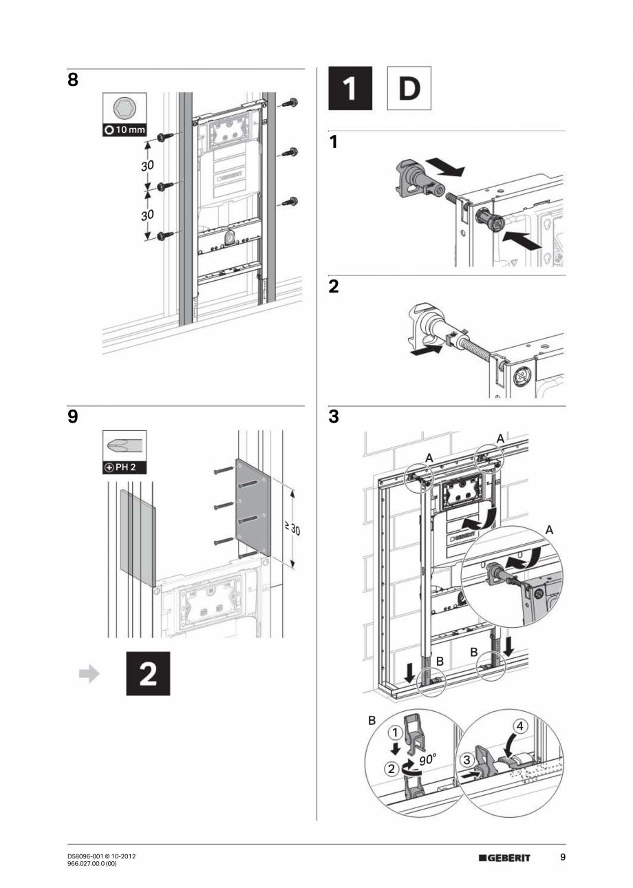 Manual de instalare rezervor incastrat GEBERIT Duofix