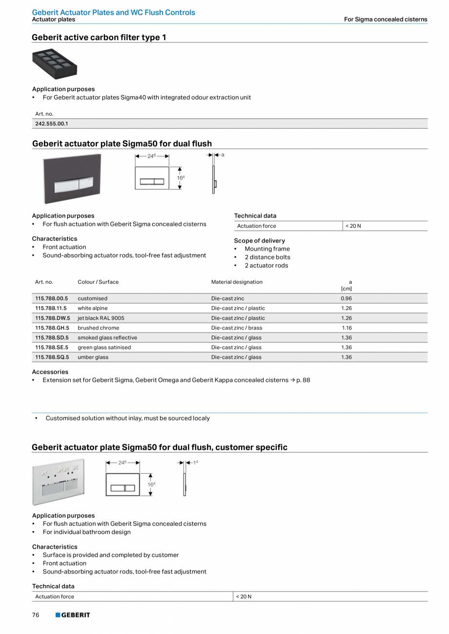 Pagina 76 - Sisteme sanitare 2015-2016 GEBERIT Delta, Sigma 12 , Omega, Duofix,  Sigma 8 Catalog,...