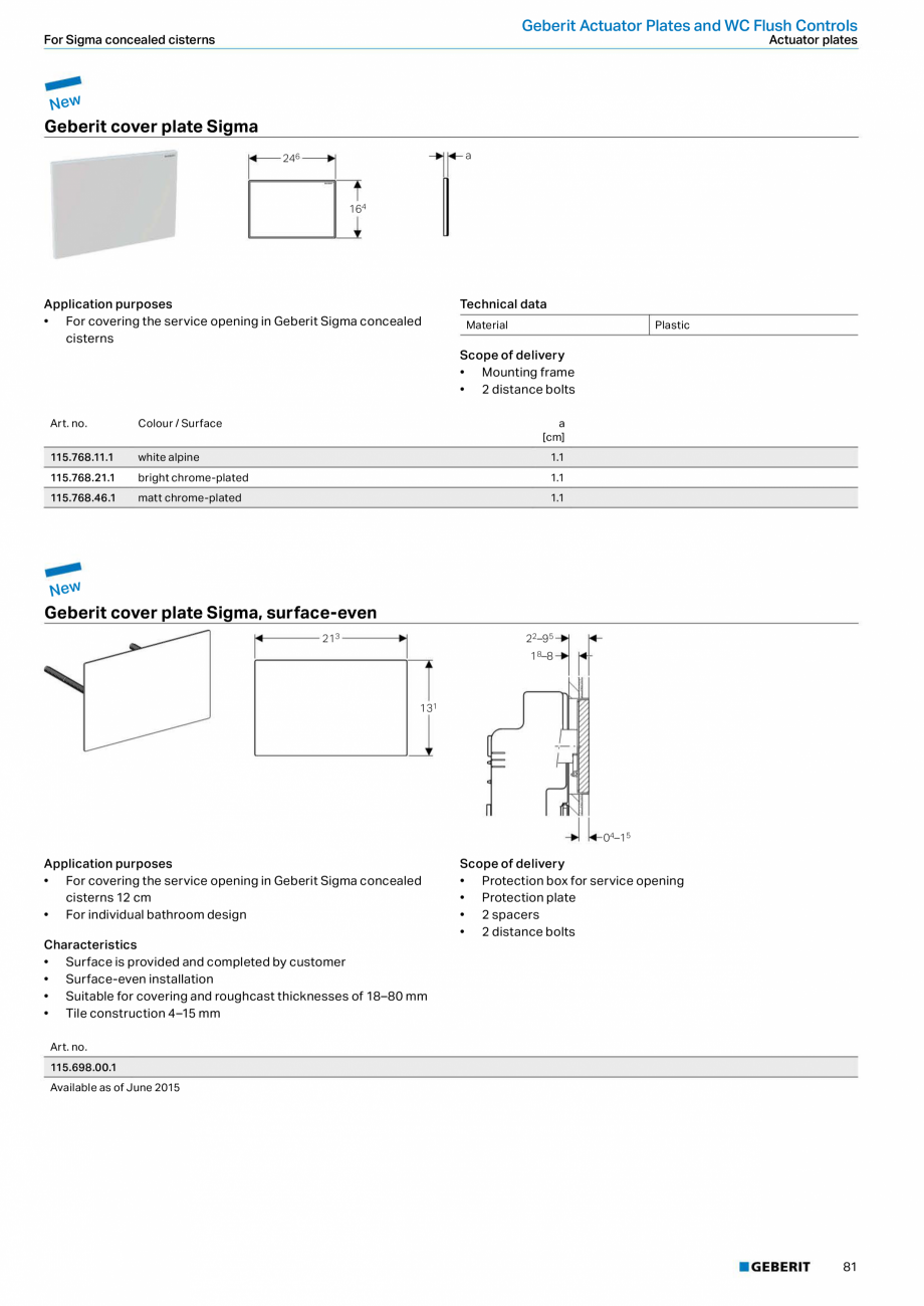 Pagina 81 - Sisteme sanitare 2015-2016 GEBERIT Delta, Sigma 12 , Omega, Duofix,  Sigma 8 Catalog,...