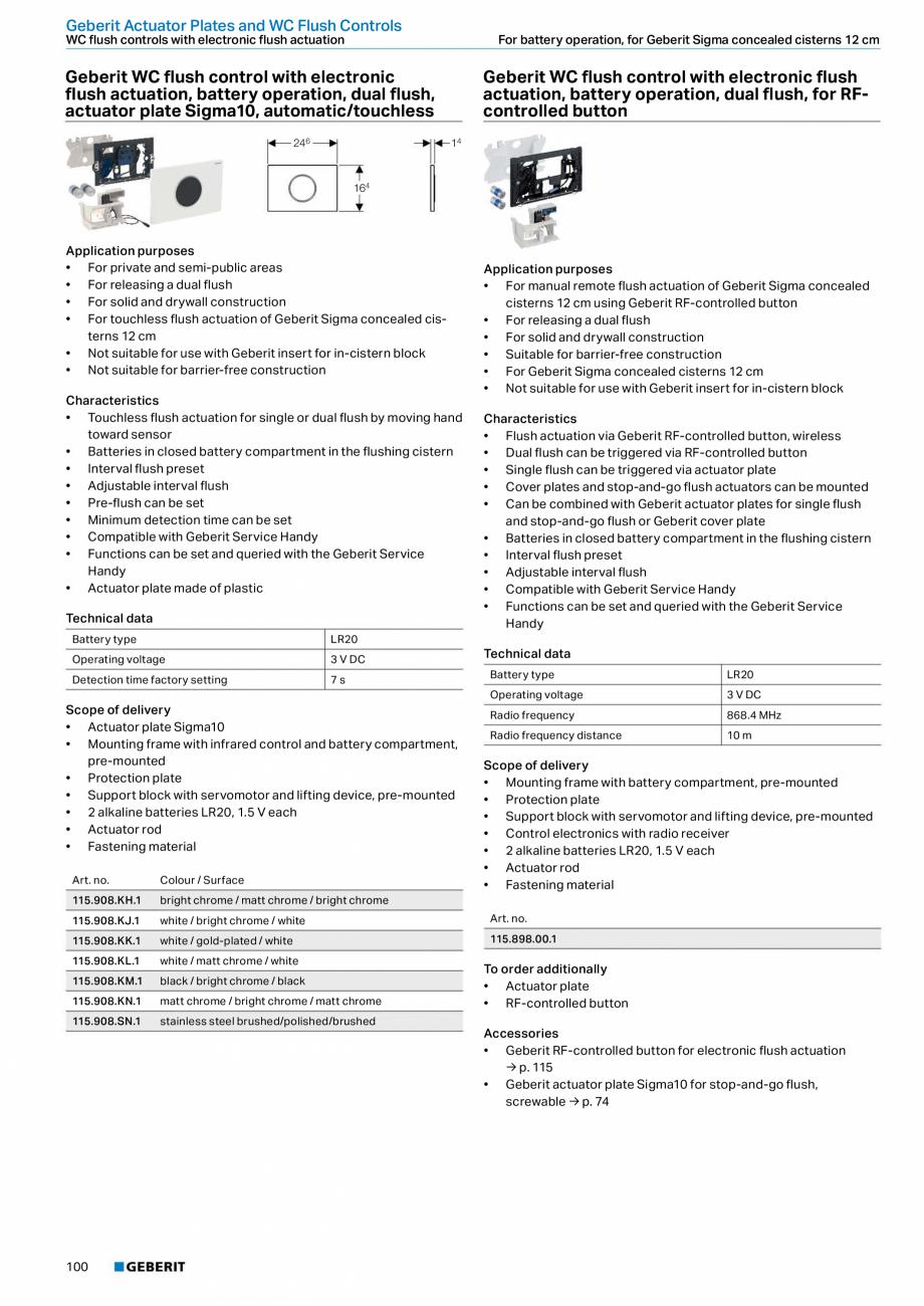 Pagina 100 - Sisteme sanitare 2015-2016 GEBERIT Delta, Sigma 12 , Omega, Duofix,  Sigma 8 Catalog,...