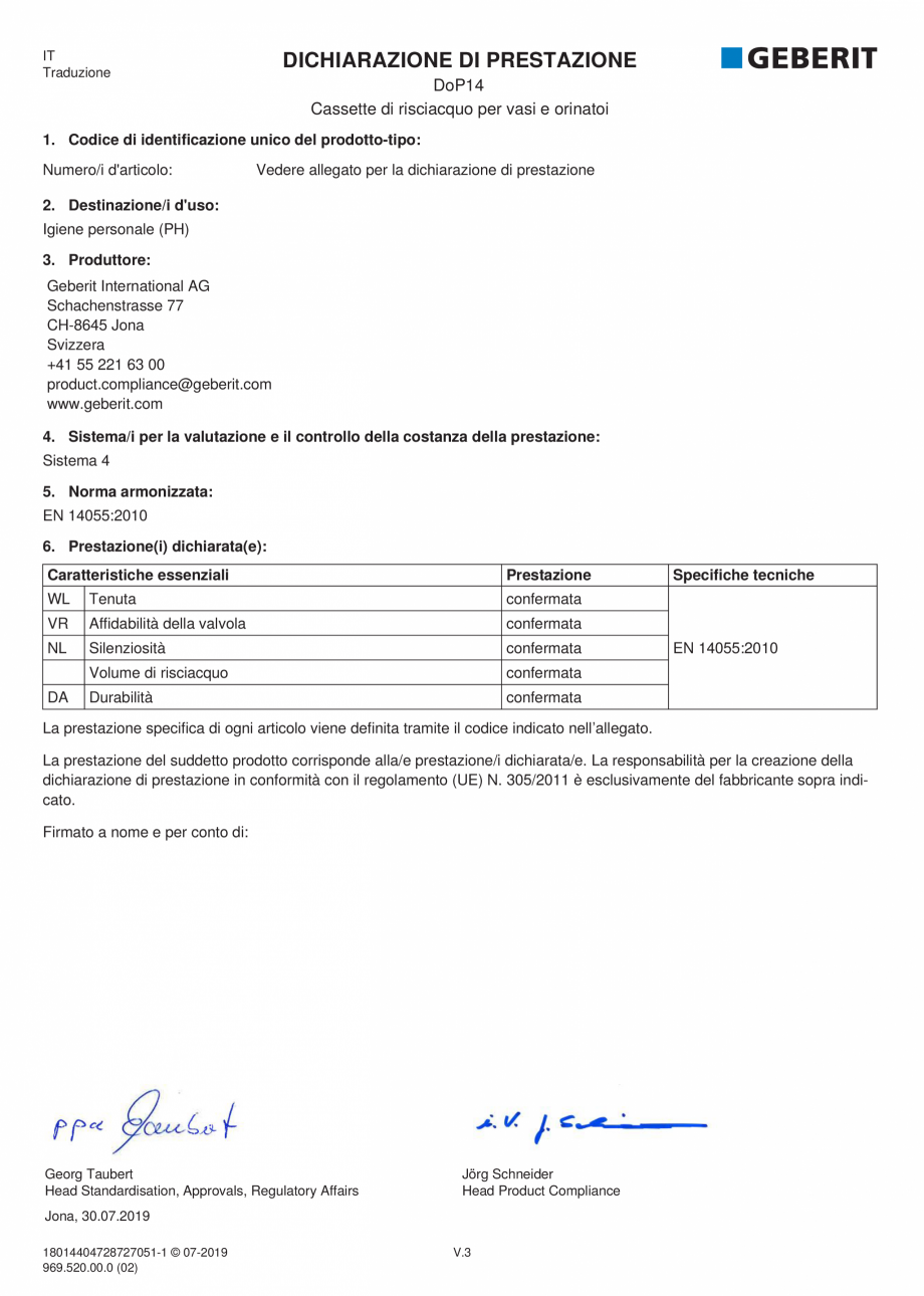 Pagina 4 - Declaratie de performanta - rezervoare incastrate GEBERIT Delta, Sigma 12 , Omega, Duofix...