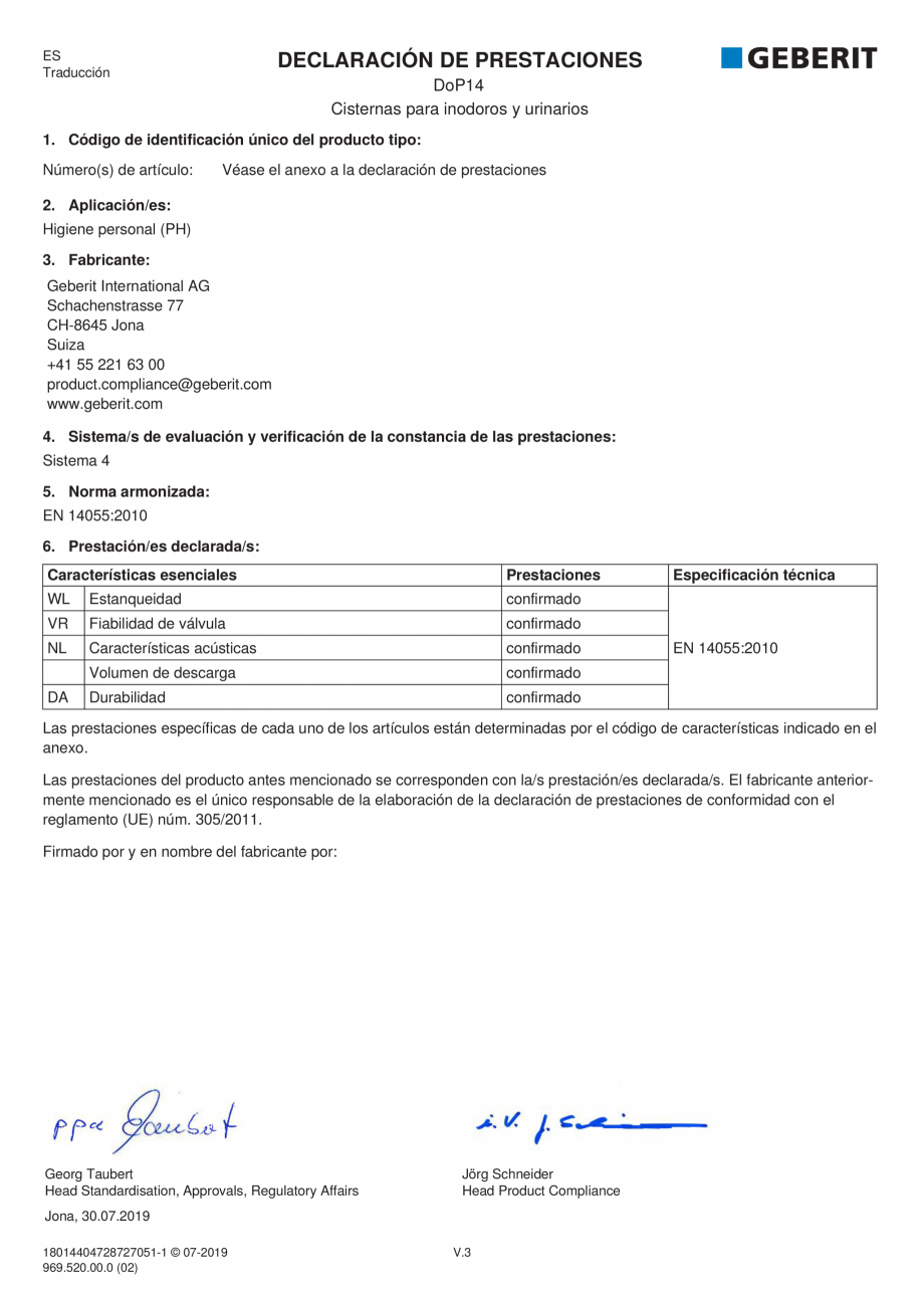 Pagina 5 - Declaratie de performanta - rezervoare incastrate GEBERIT Delta, Sigma 12 , Omega, Duofix...