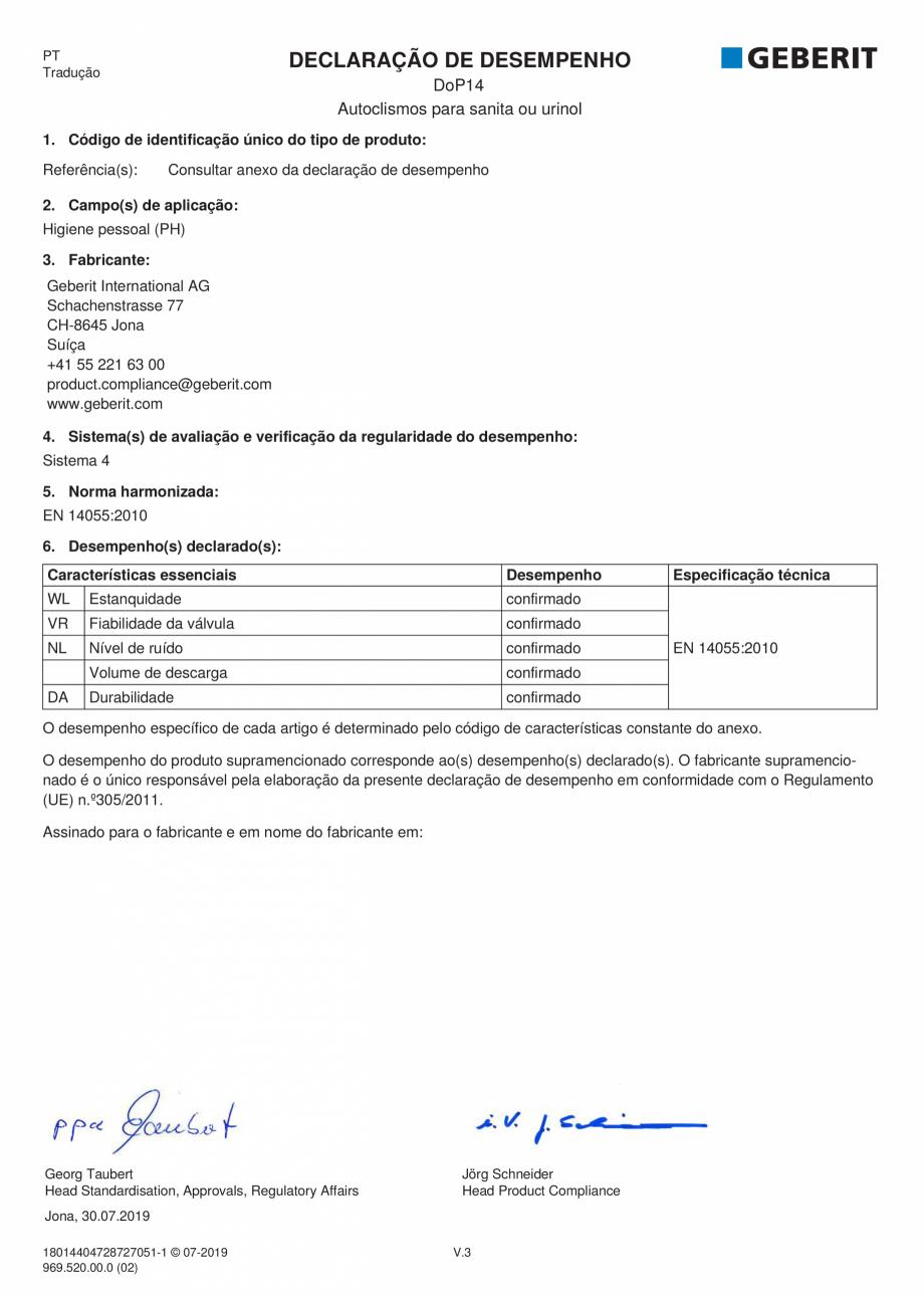 Pagina 6 - Declaratie de performanta - rezervoare incastrate GEBERIT Delta, Sigma 12 , Omega, Duofix...