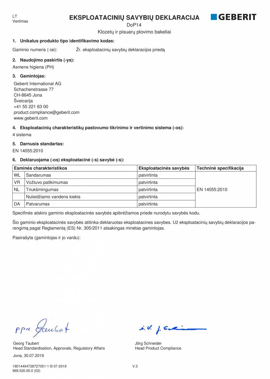 Pagina 13 - Declaratie de performanta - rezervoare incastrate GEBERIT Delta, Sigma 12 , Omega,...