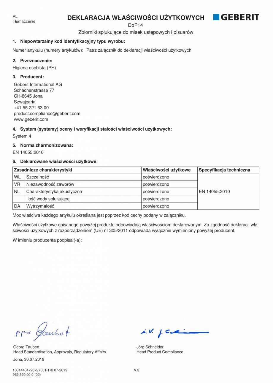 Pagina 15 - Declaratie de performanta - rezervoare incastrate GEBERIT Delta, Sigma 12 , Omega,...