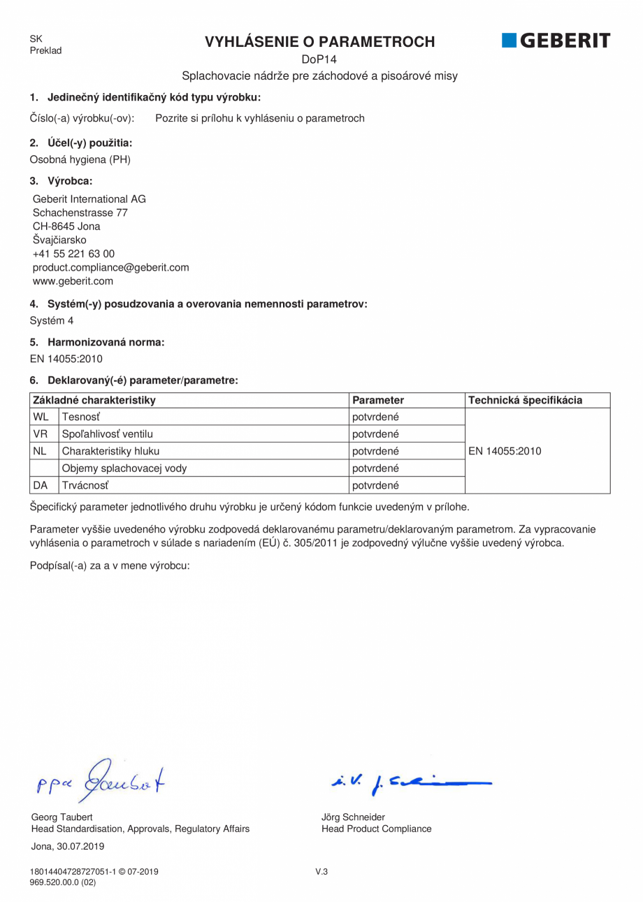 Pagina 17 - Declaratie de performanta - rezervoare incastrate GEBERIT Delta, Sigma 12 , Omega,...
