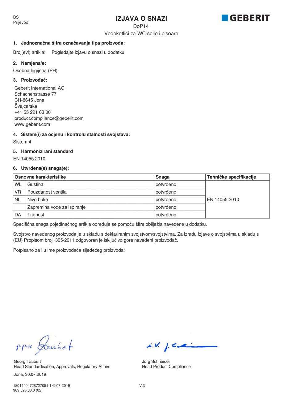 Pagina 23 - Declaratie de performanta - rezervoare incastrate GEBERIT Delta, Sigma 12 , Omega,...