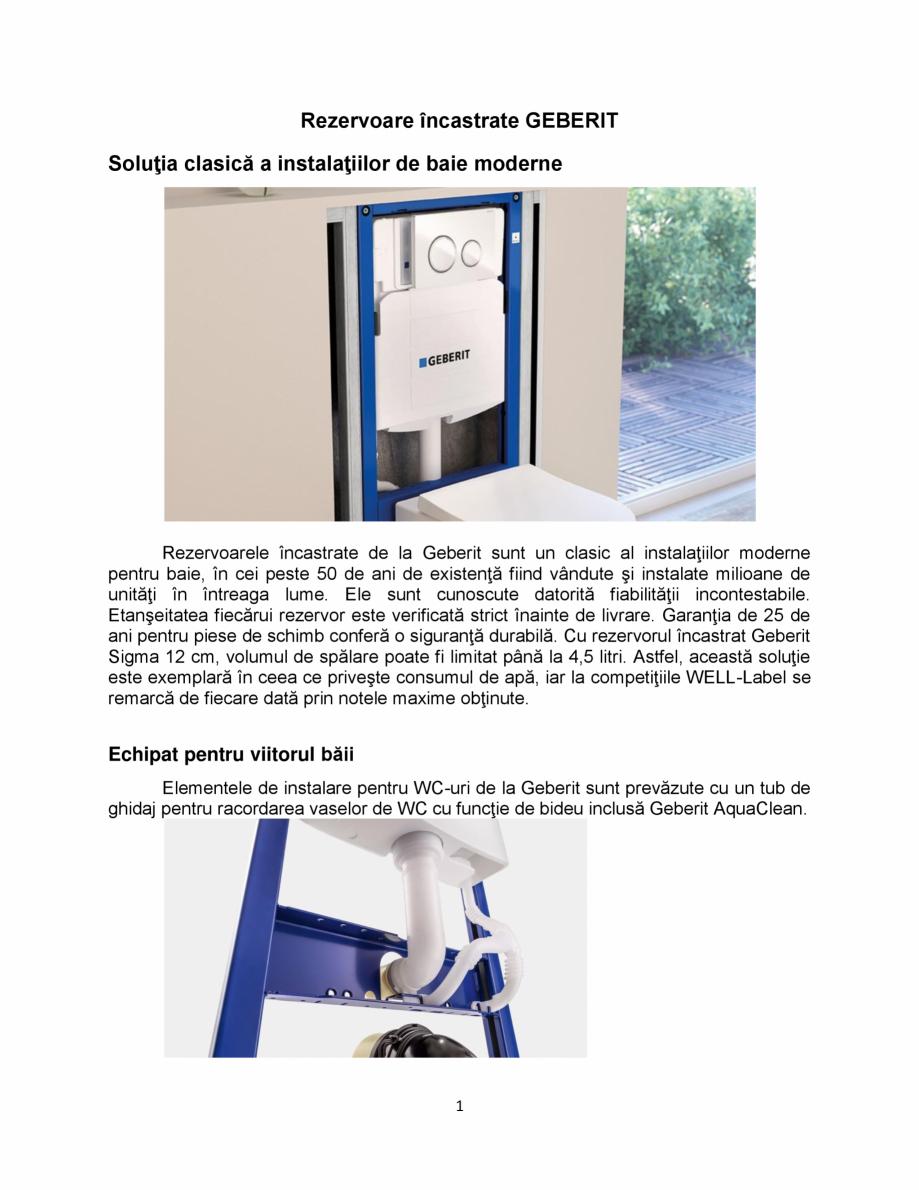 Pagina 1 - Rezervoare încastrate GEBERIT GEBERIT Sigma 12 , Omega Catalog, brosura Romana...