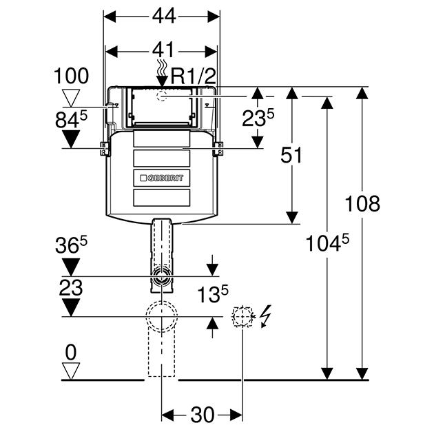 Schiță dimensiuni Geberit Kombifix Sigma WC fara izolare fonica