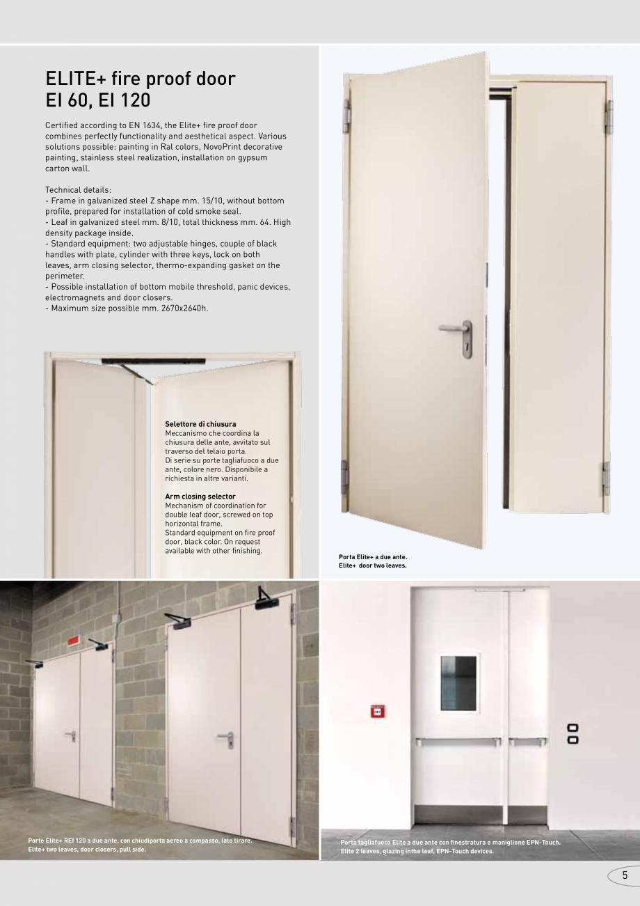 Pagina 5 - Catalog pentru usi rezistente la foc  NOVOFERM metalice Catalog, brosura Italiana con...