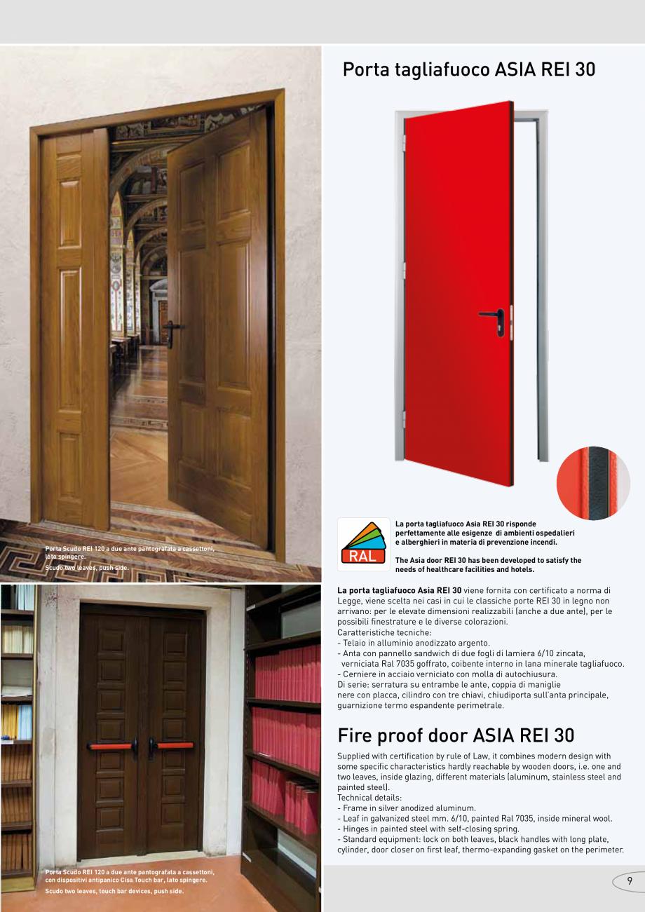 Pagina 9 - Catalog pentru usi rezistente la foc  NOVOFERM metalice Catalog, brosura Italiana oice...