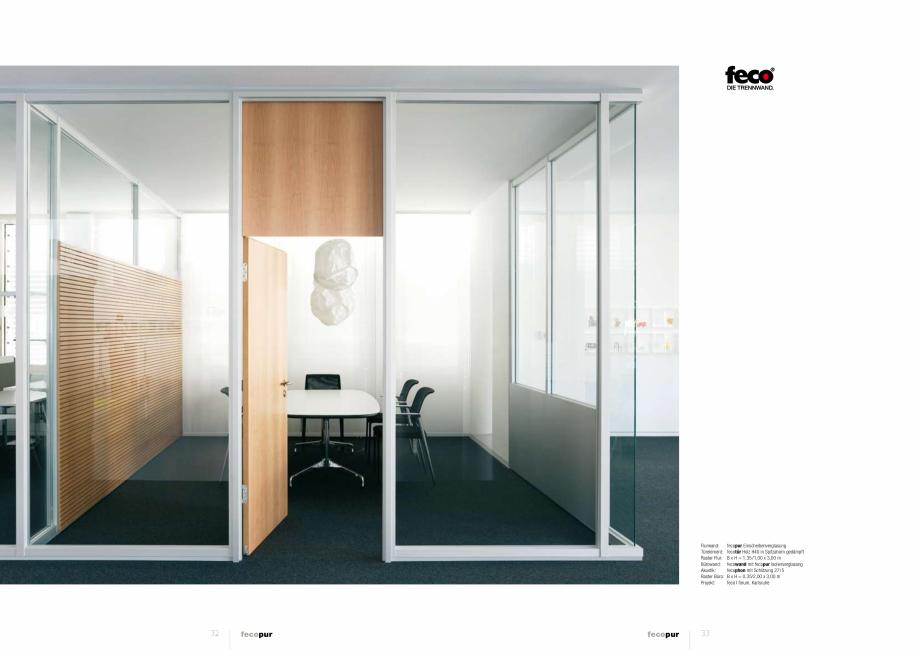 Pagina 2 - Prezentare a compartimentarii birourilor, cu pereti si usi de sticla FECO FecoPur Catalog...