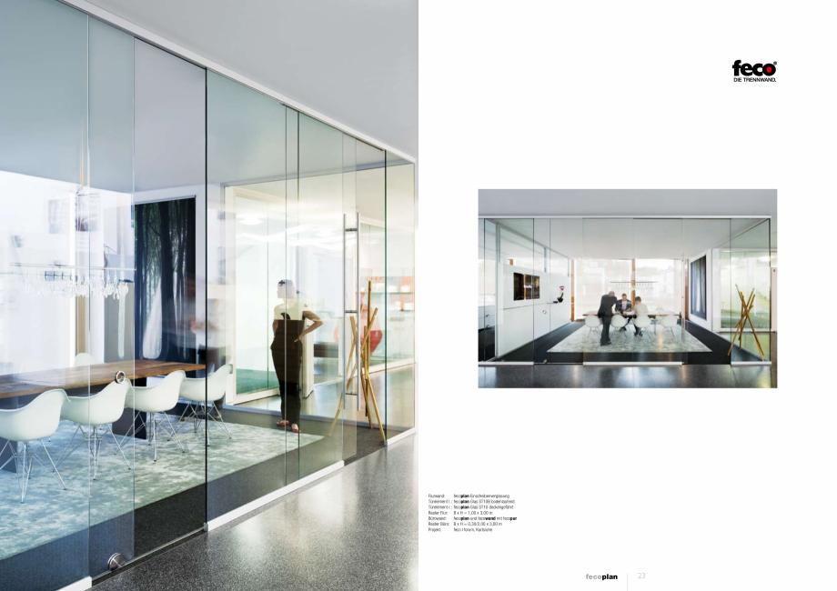 Pagina 2 - Prezentare a compartimentarii birourilor, cu pereti si usi de sticla FECO FecoPlan...