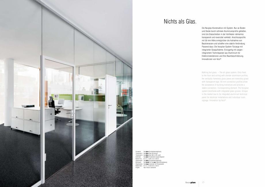 Pagina 3 - Prezentare a compartimentarii birourilor, cu pereti si usi de sticla FECO FecoPlan...