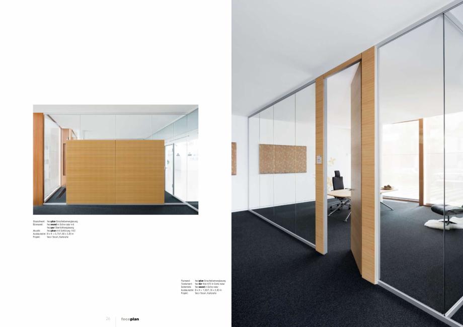 Pagina 4 - Prezentare a compartimentarii birourilor, cu pereti si usi de sticla FECO FecoPlan...