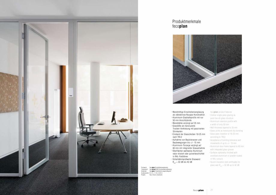 Pagina 5 - Prezentare a compartimentarii birourilor, cu pereti si usi de sticla FECO FecoPlan...
