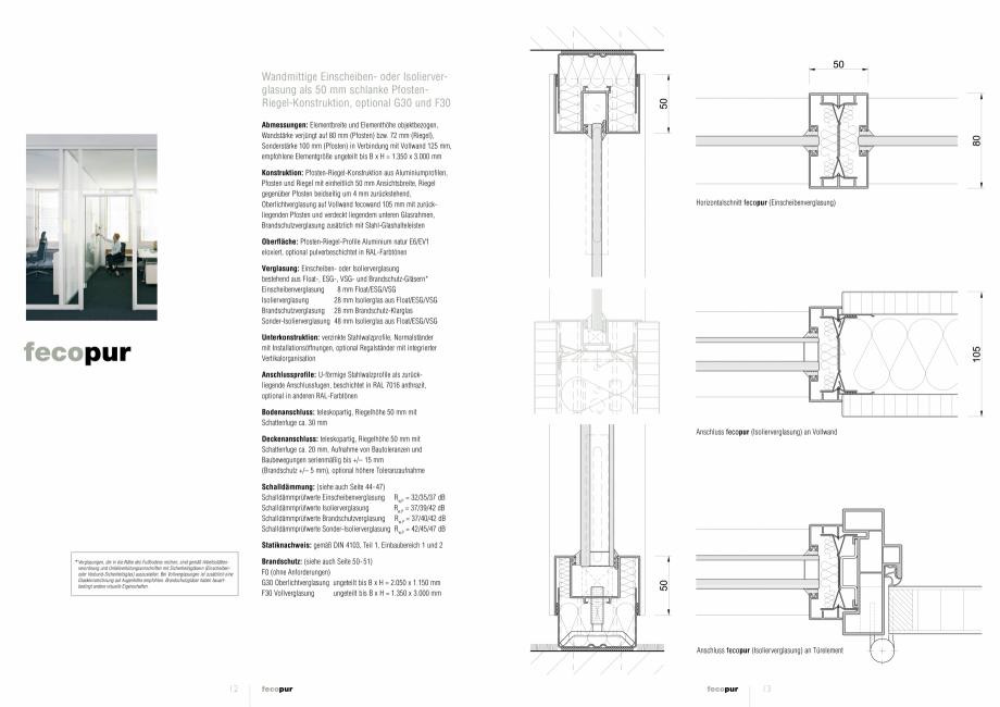 Pagina 1 - Detaliile tehnice - compartimentare birouri cu pereti si usi din sticla FECO FecoPur Fisa...