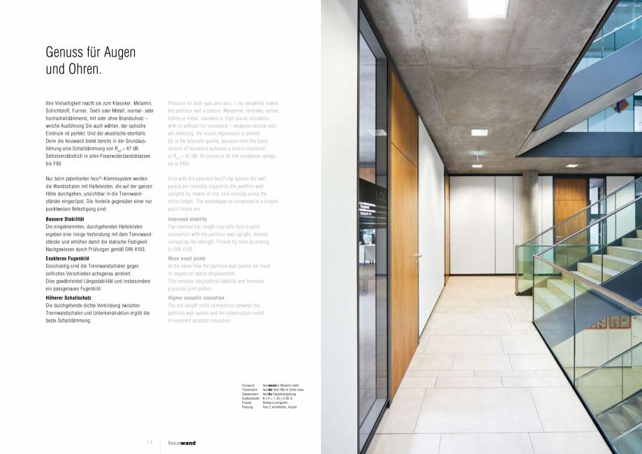 Pagina 2 - Prezentare a compartimentarii birourilor FECO FecoWand Catalog, brosura Germana, Engleza ...