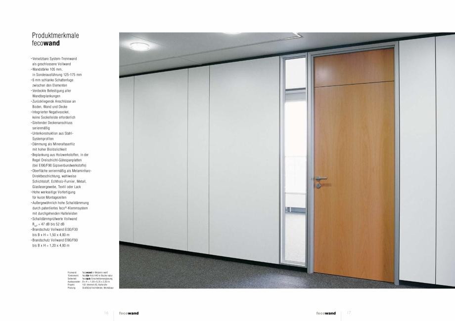 Pagina 3 - Prezentare a compartimentarii birourilor FECO FecoWand Catalog, brosura Germana, Engleza ...