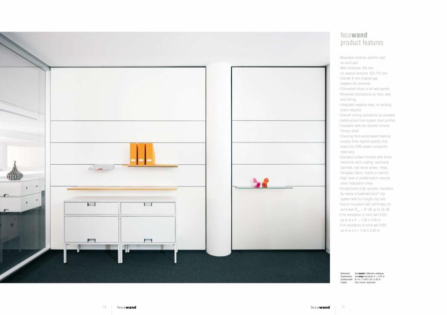Pagina 4 - Prezentare a compartimentarii birourilor FECO FecoWand Catalog, brosura Germana, Engleza ...