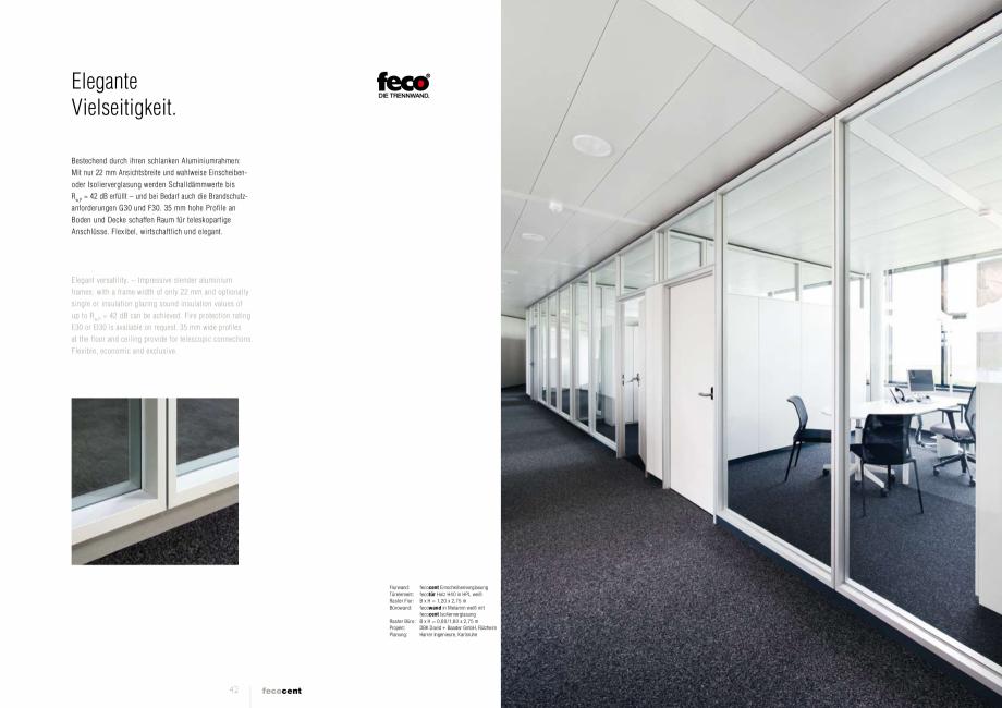 Pagina 2 - Prezentarea  compartimentarii biroului cu pereti din sticla FECO FecoCent Catalog,...