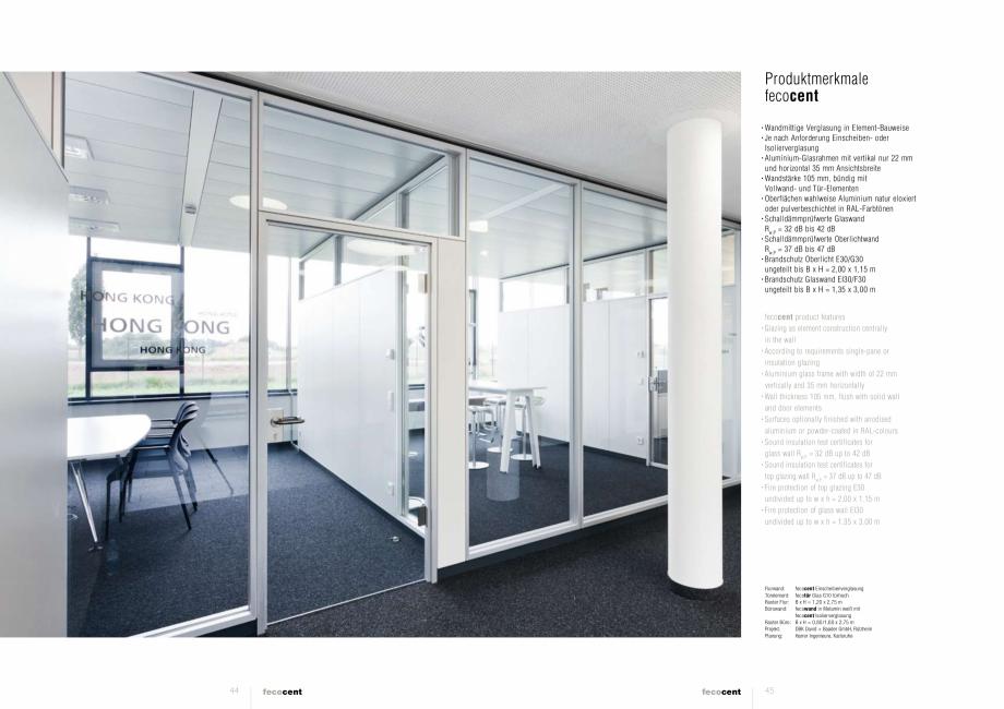 Pagina 3 - Prezentarea  compartimentarii biroului cu pereti din sticla FECO FecoCent Catalog,...