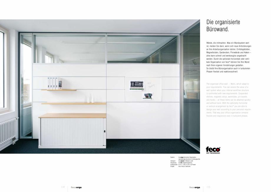 Pagina 2 - Prezentarea compartimentarii biroului cu pereti din sticla FECO FecoOrga Catalog, brosura...