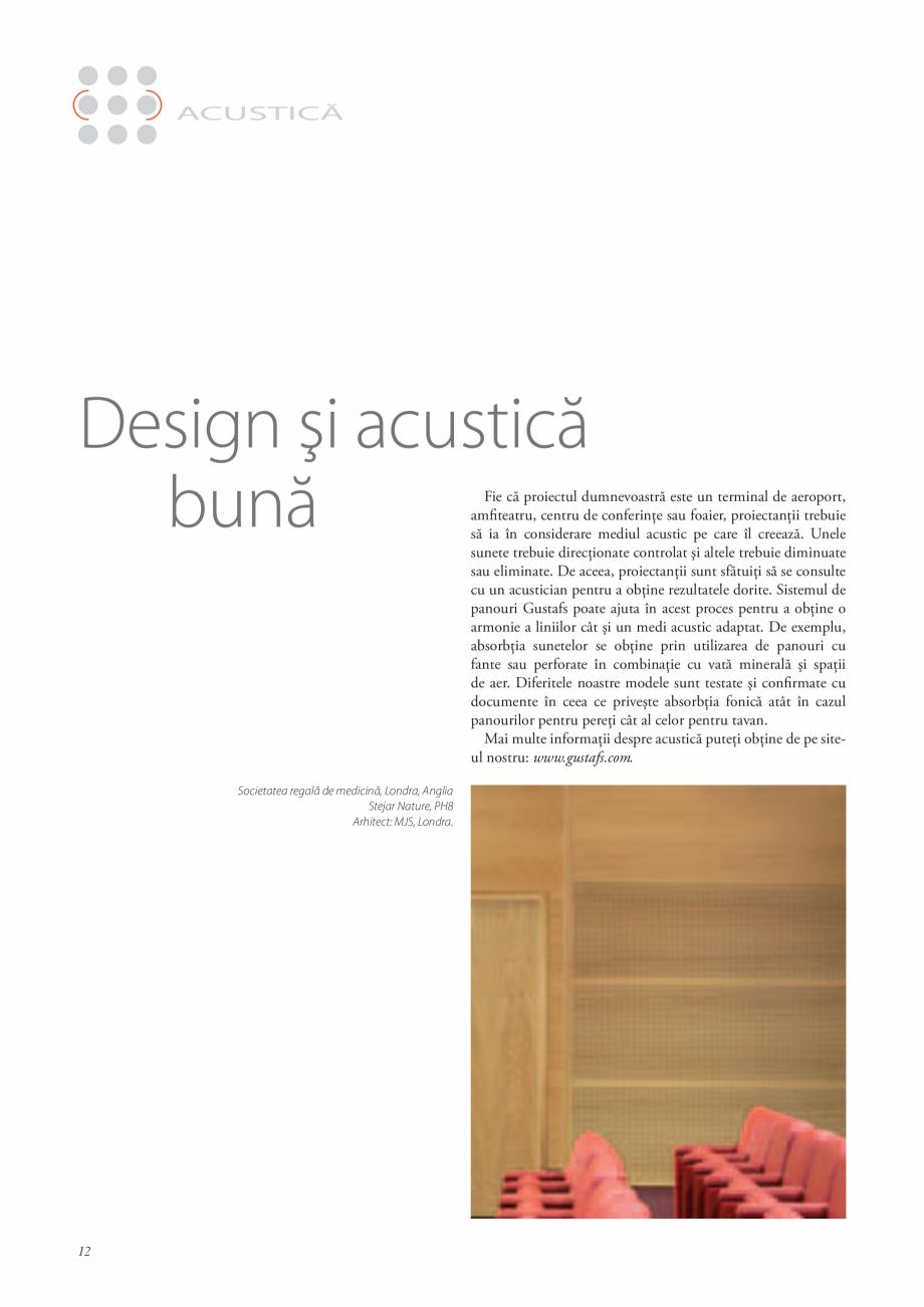 Pagina 11 - Catalog- Panouri fonoabsorbante GUSTAFS Gustafs Catalog, brosura Romana regală de...