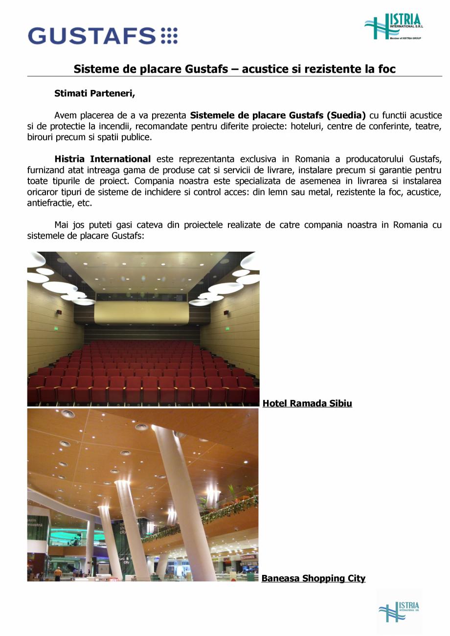 Pagina 1 - Referinte Gustafs in Romania GUSTAFS Catalog, brosura Romana Sisteme de placare Gustafs...