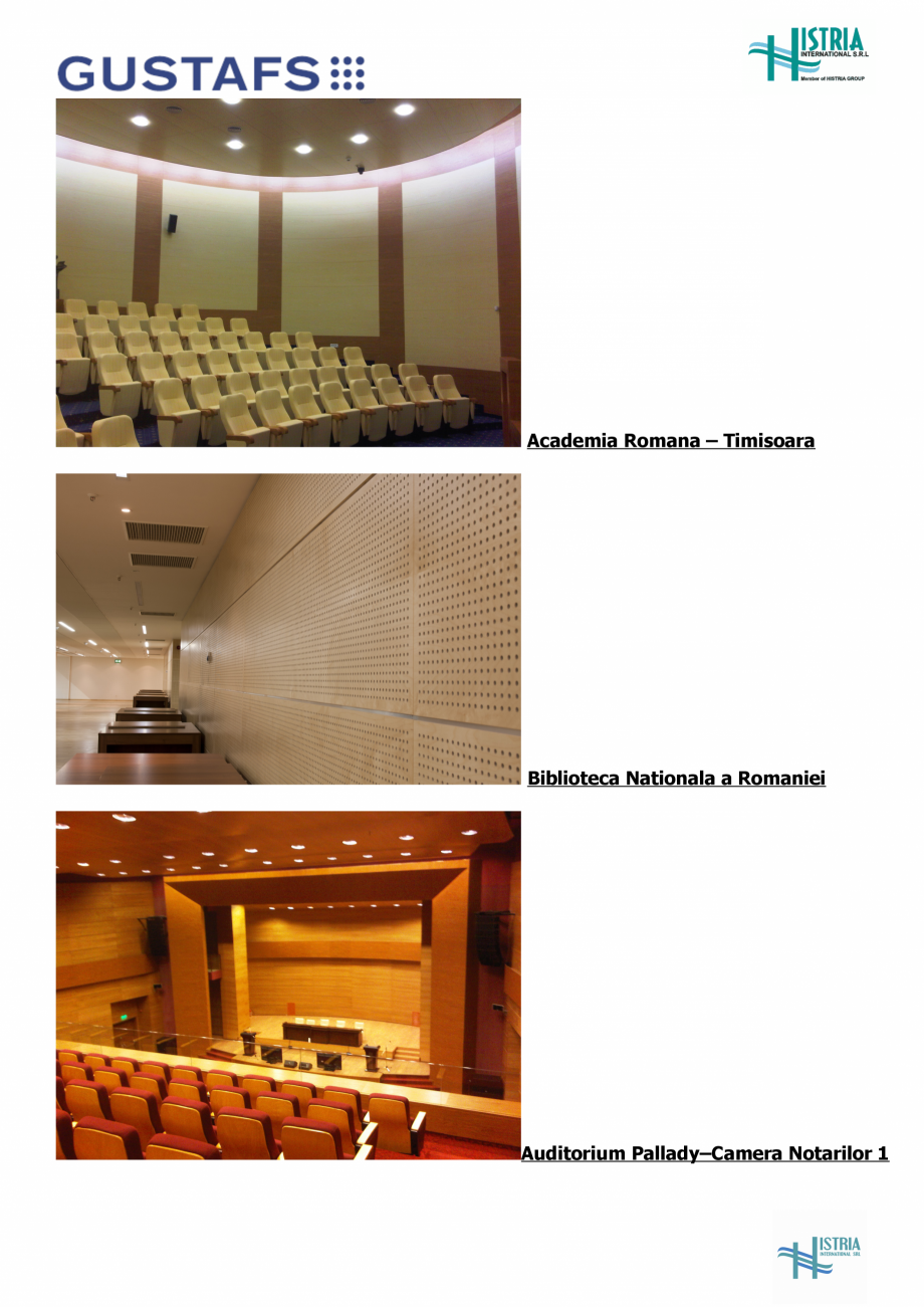Pagina 2 - Referinte Gustafs in Romania GUSTAFS Catalog, brosura Romana Auditorium Pallady –...