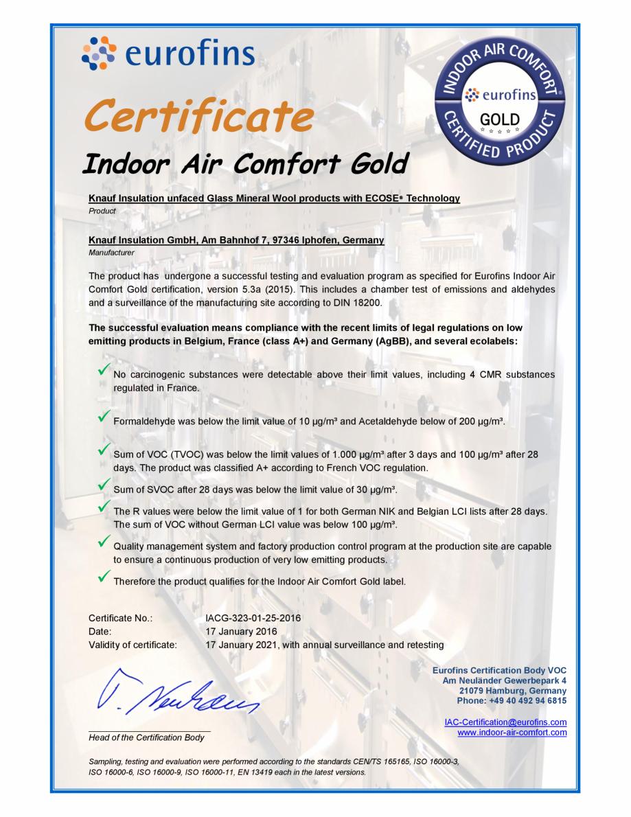 Pagina 1 - Certificare Eurofins - pentru vata minerala de sticla cu tehnologia ECOSE® KNAUF...