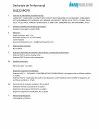 Declaratie de performanta pentru vata minerala de sticla cu tehnologie ECOSE®