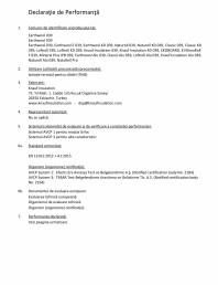 Declaratie de performanta pentru vata minerala de sticla cu tehnologia ECOSE®