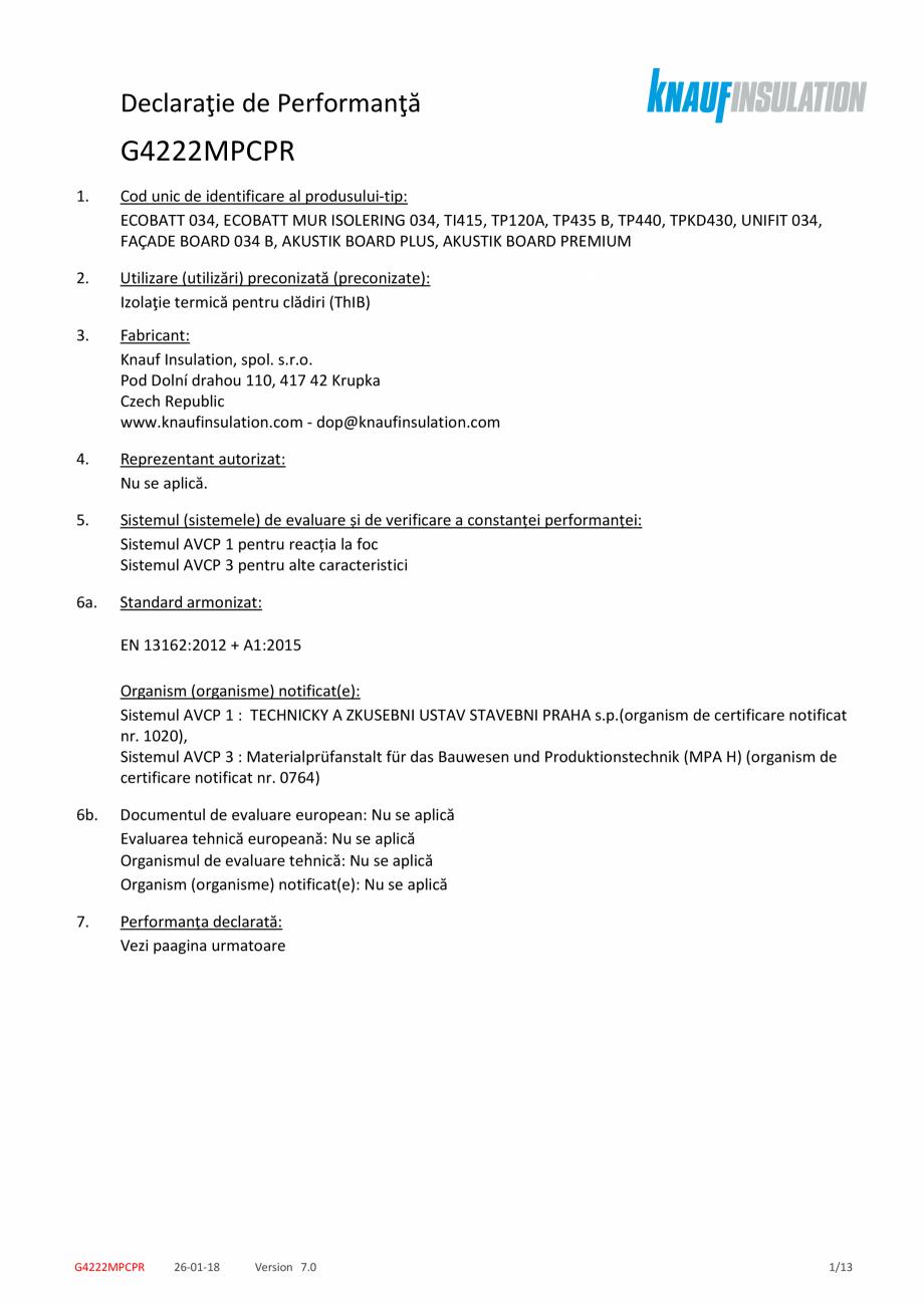 Pagina 1 - Declaratie de performanta pentru vata minerala de sticla cu tehnologie ECOSE® KNAUF...